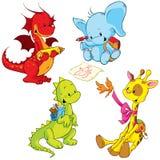 Cartoon animals - small schooler Royalty Free Stock Image