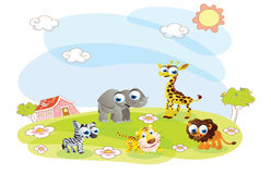 Cartoon animals in the summer Stock Image