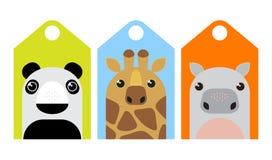 Cartoon animals tags set Stock Images