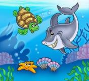 Cartoon animals underwater. Color illustration Royalty Free Stock Photos