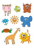 Cartoon Animals Vector Set. Cartoon animals characters set for children. Vector print ready A4 design Royalty Free Stock Photography