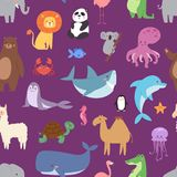 Cartoon animals wildlife wallpaper zoo wild characters background for kids illustration vector seamless pattern Stock Photo