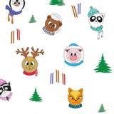 Cartoon animals in winter clothes. Vector seamless color Christmas pattern. Cartoon animals in winter clothes, ski, tree. Vector seamless color Christmas stock illustration