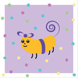 Cartoon animated gift. A pet birthday pack with eyes, mouth and four leg smiling on a violet dots background Stock Images