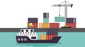 Cartoon Animated Harbor Including Ship, Cargo and Lift Truck stock footage