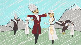 Cartoon animation with armenian men and women in national clothes dancing lezghinka in front of mountains. People moving