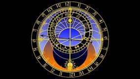 Astronomical clock. Cartoon animation - astronomical clock on black background stock illustration