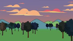 Cartoon animation background with forest and mountain, abstract backdrop