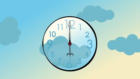 Cartoon animation of a clock in the sky running very fast. The clouds fly past in the background. Seamless looping video animation