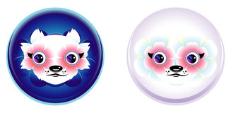 Cartoon anime face with big flowers-eyes. Funny animal white-vio Royalty Free Stock Images