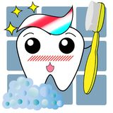 Tooth and toothbrush and toothpaste in cartoon royalty free illustration