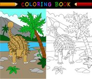 Cartoon ankylosaurs coloring page Royalty Free Stock Image