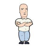 Cartoon annoyed bald man Stock Photos