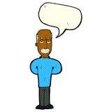 Cartoon annoyed balding man with speech bubble Stock Photography