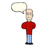 Cartoon annoyed balding man with speech bubble Royalty Free Stock Photography