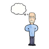 Cartoon annoyed balding man with thought bubble Royalty Free Stock Image