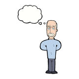 Cartoon annoyed balding man with thought bubble Royalty Free Stock Images
