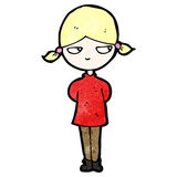 Cartoon annoyed blond girl Stock Images