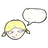 Cartoon annoyed girl with speech bubble Royalty Free Stock Photos