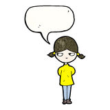 Cartoon annoyed girl with speech bubble Stock Images