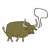 Cartoon annoyed hairy cow with speech bubble Royalty Free Stock Photos