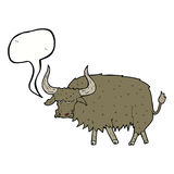 Cartoon annoyed hairy cow with speech bubble Royalty Free Stock Photo