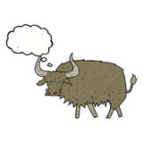 Cartoon annoyed hairy cow with thought bubble Royalty Free Stock Image
