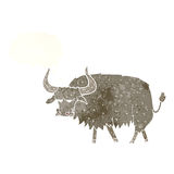 Cartoon annoyed hairy cow with thought bubble Stock Photography