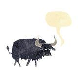 Cartoon annoyed hairy ox with speech bubble Stock Photo