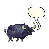 Cartoon annoyed hairy ox with speech bubble Royalty Free Stock Images