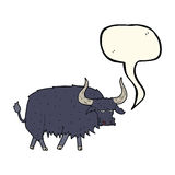 Cartoon annoyed hairy ox with speech bubble Royalty Free Stock Photography