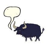 Cartoon annoyed hairy ox with speech bubble Stock Image