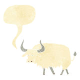 Cartoon annoyed hairy ox with speech bubble Royalty Free Stock Image