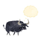Cartoon annoyed hairy ox with thought bubble Stock Photography