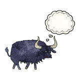 Cartoon annoyed hairy ox with thought bubble Royalty Free Stock Photos