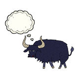 Cartoon annoyed hairy ox with thought bubble Stock Photo