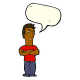 Cartoon annoyed man with folded arms with speech bubble Stock Image