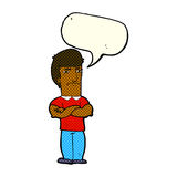 Cartoon annoyed man with folded arms with speech bubble Royalty Free Stock Photos