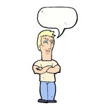 Cartoon annoyed man with folded arms with speech bubble Royalty Free Stock Photo
