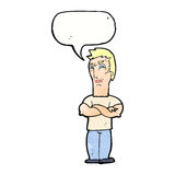 Cartoon annoyed man with folded arms with speech bubble Stock Photo