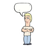 Cartoon annoyed man with folded arms with speech bubble Royalty Free Stock Photography