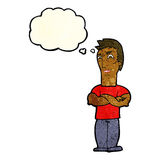 Cartoon annoyed man with folded arms with thought bubble Stock Image