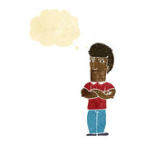Cartoon annoyed man with folded arms with thought bubble Royalty Free Stock Image