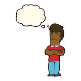 Cartoon annoyed man with folded arms with thought bubble Royalty Free Stock Photos