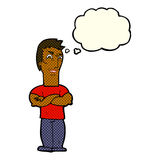 Cartoon annoyed man with folded arms with thought bubble Stock Photo