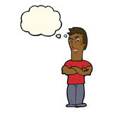 Cartoon annoyed man with folded arms with thought bubble Stock Photography