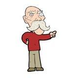 Cartoon annoyed old man pointing Stock Photos