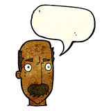 Cartoon annoyed old man with speech bubble Stock Image