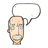 Cartoon annoyed old man with speech bubble Royalty Free Stock Photography