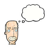 Cartoon annoyed old man with thought bubble Royalty Free Stock Photo